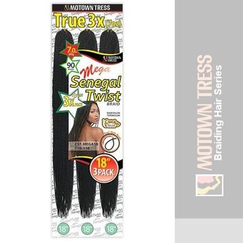 MEGA CROCHET SENEGAL TWIST BRAID 18 - 3 Pack (Motown Tress) - Kanekalon Braiding Hair in DARK BROWN
