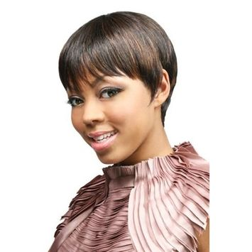 H SADA (4 Medium Brown) - Motown Tress 100% Human Hair Short Boycut Style Wig