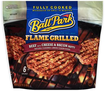 Ball Park Flame Grilled with Cheese & Bacon Beef Patties