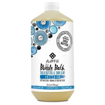 Alaffia - Everyday Shea Bubble Bath, For All Skin Types, Soothing Support for Deep Relaxation and Soft Moisturized Skin with Shea Butter and Yam Leaf, Fair Trade, Unscented, 32 Ounces (FFP)