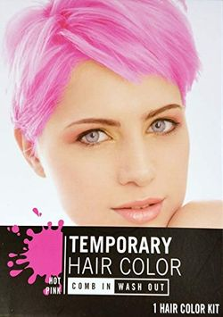 Hot Pink Quick Temporary Hair Color Kit Easy Use Comb It In & Wash It Out Done
