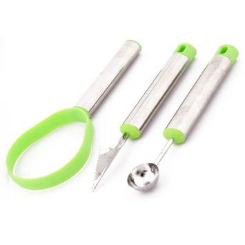 Toner Depot Kitchenware Stainless Steel Dig DIY Fruit Salad Ice Cream Tool Kit Green 3 in 1