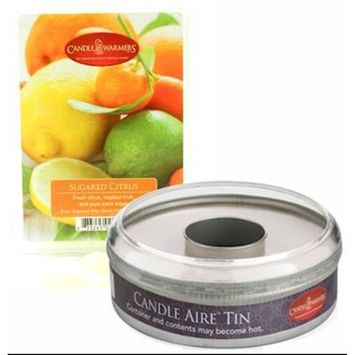 Sugared Citrus Candle Aire 5 oz Scented Wax Refill with Empty Reusable Tin by Candle Warmers
