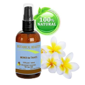 MONOI DE TAHITI Oil 100% Pure / Natural. Cold Pressed / Undiluted / Virgin / Unscented /Polynesia Original Guarantee. For Face, Hair and Body. (1 fl.oz.- 30 ml) by Botanical Beauty