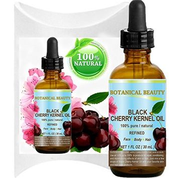 BLACK CHERRY KERNEL OIL. 100% Pure / Natural /Refined / Undiluted Cold Pressed Carrier Oil for Face, Body, Feet, Hair, Massage and Nail Care. 1 Fl. oz - 30 ml.