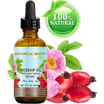 ROSEHIP OIL 100% Pure / Natural /Refined / Undiluted for Face, Body, Hair and Nail Care. 2 Fl.oz.- 60 ml.