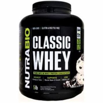 NutraBio Kosher Classic Whey Concentrate Protein Cookies and Cream Dairy - 5 LB