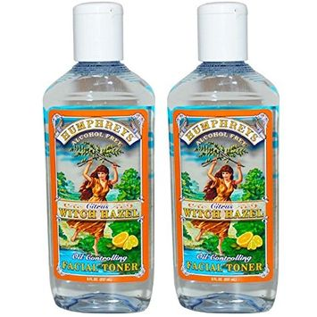 Humphrey's Citrus Witch Hazel Oil Controlling Facial Toner (Pack of 2), Removes and Controls Oil, With Aloe Vera, Meadowsweet, Apple, Calendula, Chamomille, White & Green Tea and Lavender, 8 fl. oz.