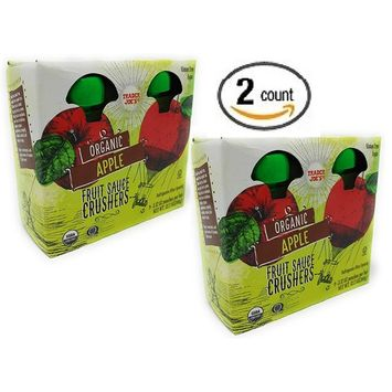 Trader Joe's Organic Fruit Sauce Crusher's - ORGANIC APPLE Pack Of 2 Boxes (Each Box Contains 4-3.17OZ Pouches - 8 Total)