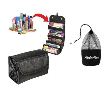 4-Layer Roll up Foldable Travel Organizer Multifunctional Hanging Makeup Cosmetic Bag Large Capacity Toiletry Storage Bag Organizer Bath Shower Clear Case Holder Pouch for Women Girls
