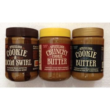 Variety Pack - Trader Joe's: 1) Speculoos Smooth Cookie Butter; 2) Speculoos Crunchy Cookie Butter; 3) Speculoos Cookie & Cocoa Swirl (Total 3 Jars)
