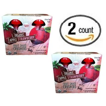 Trader Joe's Organic Fruit Sauce Crusher's - ORGANIC APPLE STRAWBERRY Pack Of 2 Boxes (Each Box Contains 4-3.17OZ Pouches - 8 Total)