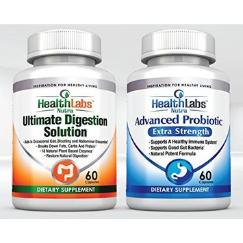 Health Labs Nutra Advanced Probiotics and Digestive Enzymes Buy One Bottle Get Second Free(30 Day Supply Of Each) the Ultimate Digestive Solution!