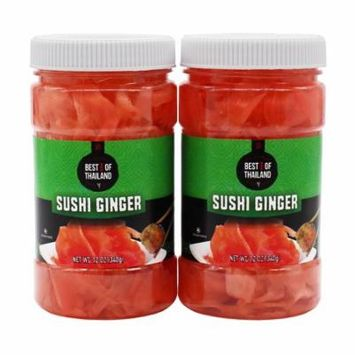 Pickled Sushi Ginger - 2 Jars of 12-oz - Japanese Pickled Gari Sushi Ginger Kosher - By Best of Thailand