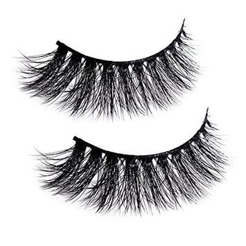Natural Wispy Thick Reusable Authentic Faux Silk False Eyelashes - Fluffy for Casual Make up - Black Band Make You Look Like Have Eyeliner 1 Pair Pack,1 X Clip Tweezer (B)