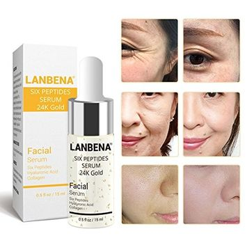 LANBENA Six Peptides Serum 24K Gold Anti-aging Serum Anti-wrinkle Firm Fine Lines Moisturizing 0.5 fl oz