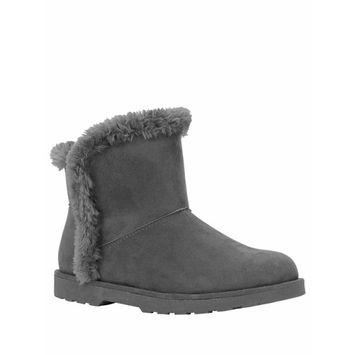 CALISTOGA - Calistoga Women's Vegan Suede Faux Fur Lining and Trim Ankle Bootie [name: shoe_size value: shoe_size-6]