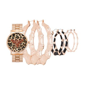 Rocawear - Rocawear Womens Quartz Rose Gold Analog Watch with Earrings Gift Set