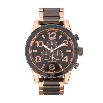 Rocawear - Rocawear Mens Quartz Rose Gold/Black Analog Watch with Oversized Dial