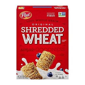 Shredded Wheat Cereal Excellent Source Of Fiber, Original, 16.4 Oz (Pack of 2)