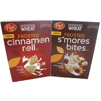 Variety Pack - Post Shredded Wheat Cereal (15.5 oz) - Frosted Cinnamon Roll, Frosted S'mores Bites
