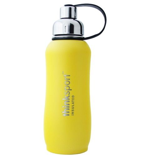 Thinksport Insulated Sports Bottle, Coated Yellow, 25 Oz (750ml)