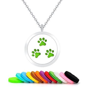 Pet Paw Aromatherapy Essential Oils Diffuser Necklace-Stainless Steel Locket Pendant with 12 Colorful Pads