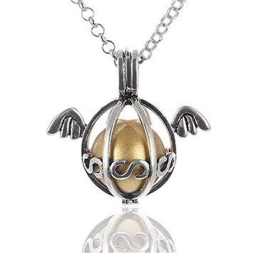 Vintage Angel Wing Antique Hollow Fragrance Aromatherapy Essential Oil Diffuser Pendant Necklace