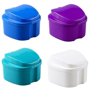 Orafix Premium Denture Bath cleaning container with Strainer Assorted color (2 packs)