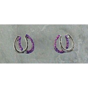 Finishing Touch Double Horseshoe Glitter Earrings