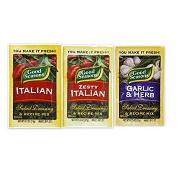 Good Seasons Dressing & Recipe Mix Variety Bundle (Pack of 6) includes 2-Envelope Zesty Italian, 0.7 oz + 2-Envelope Italian, 0.7 oz + 2-Envelope Garlic & Herb, 0.75 oz