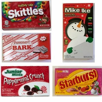 5 Big Boxes Christmas Candy for Stocking Stuffers - Junior Mints, Skittles, Mike and Ike, Starbursts and Peppermint Bark