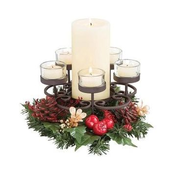 San Miguel Traditions Candle Garden (No Candles) 7.6X5.1, Red/Green