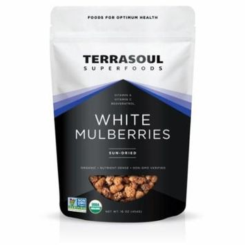 Terrasoul Superfoods Organic Sun-Dried White Mulberries, 1.0 Lb