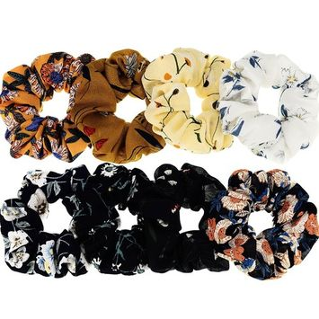 Mtlee 8 Pieces Hair Scrunchies Bobbles Hair Bands Ponytail Hair Tie Chiffon Holder, 8 Colors