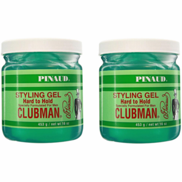 Clubman ALCHOHOL FREE Mens Hard To Hold Styling Hair Gel 16 Ounce Jar (2-PACK)