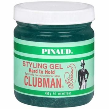 Clubman ALCHOHOL FREE Mens Hard To Hold Styling Hair Gel 16 Ounce Jar (23-PACK)