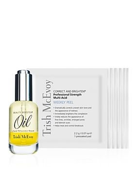 Trish McEvoy Correct and Brighten Weekly Peel & Beauty Booster Oil Duo - 100% Exclusive