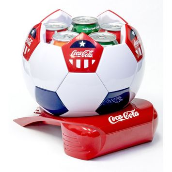 Koolatron CCSB5 Coca Cola Soccer Ball Cooler with State-Of-The-Art Thermoelectric Cooling and Push Top Lid in White Red and