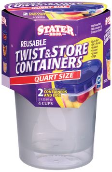Stater Bros.® Twist & Store Reusable Quart Size Containers & Lids 2 Ct Sleeve
