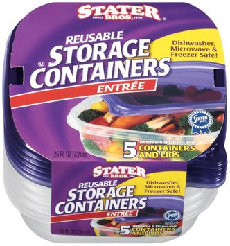 Stater Bros.® Reusable Storage Containers Entree 5 ct.