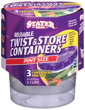 Stater Bros.® Twist & Store Reusable Pint Size Containers & Lids 3 Ct Sleeve