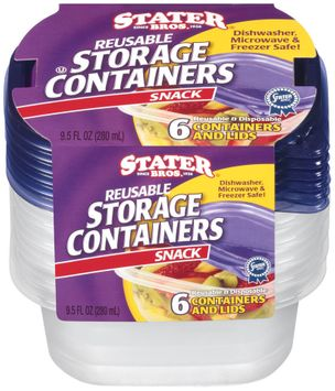 Stater Bros.® Reusable Storage Containers Snack 6 ct.