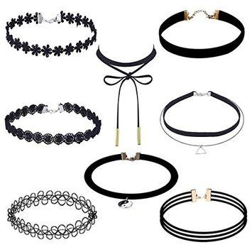 Sunfei 8 Pieces Choker Necklace Set Stretch Velvet Classic Gothic Tattoo Lace Choker