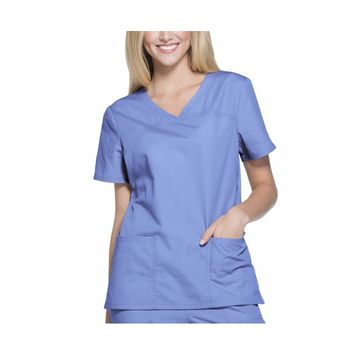 Women's Brushed Poplin V-Neck Scrub Top