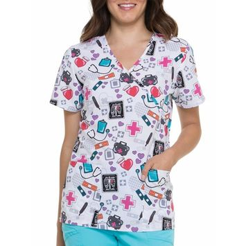 Women's Fashion Collection Happy and Healthy Mock Wrap Printed Scrub Top