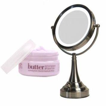 Zadro LEDV410 LED Lighted Vanity Mirror and Cuccio Lemongrass & Lavender Body Butter