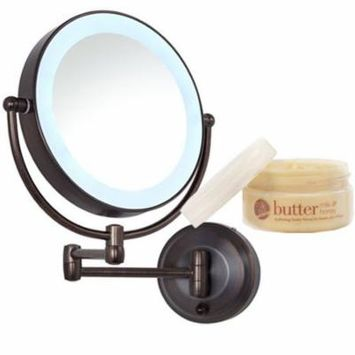Zadro Oil Rubbed Bronze LEDW810 LED Lighted Wall Mount Mirror and Cuccio Milk & Honey Body Butter