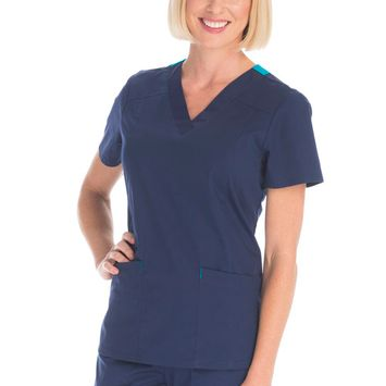 Women's Stretch Poplin Color-Pop V-Neck Scrub Top