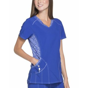 SCRUBSTAR Women's Signature Collection Stretch Scrub Top with Space-Dyed Contrast